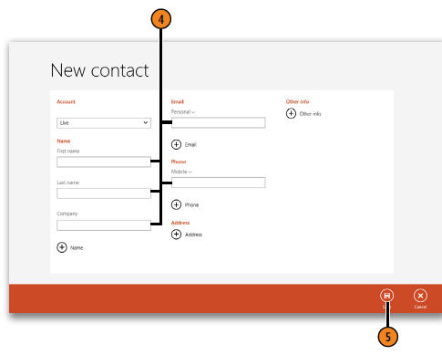 adding a new contact windows 8